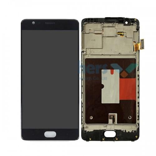 Дисплей для OnePlus 3/1+3/OnePlus 3T/1+3T, черный, с тачскрином, AAA, TFT, с рамой