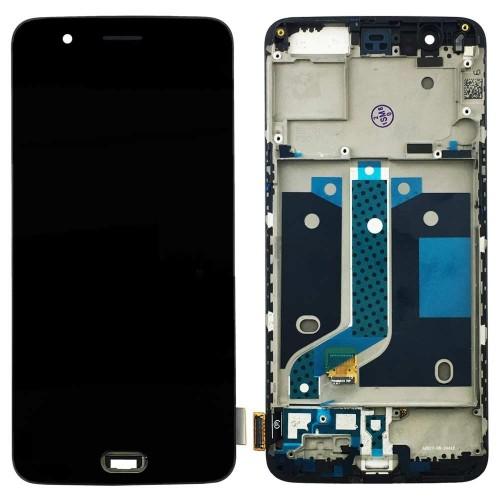 Дисплей для OnePlus 5/1+5, черный, с тачскрином, AAA, TFT, с рамой